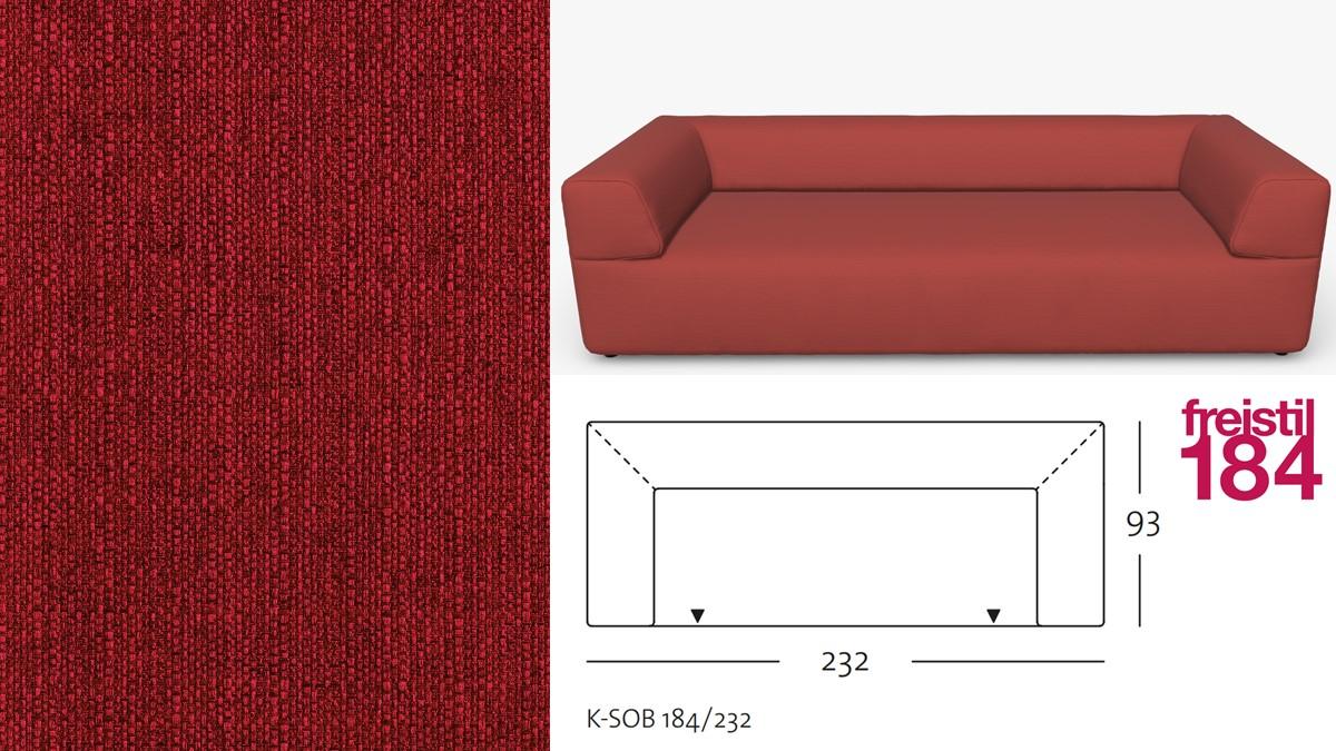 freistil 184 Sofabank im Stoff-Bezug #1033 rubinrot