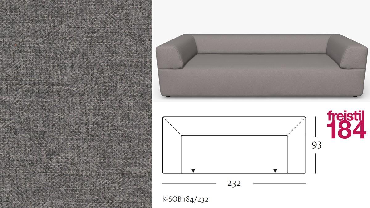 freistil 184 Sofabank im Stoff-Bezug #2041 eisengrau