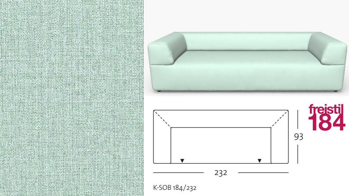 freistil 184 Sofabank im Stoff-Bezug #2060 pastelltürkis