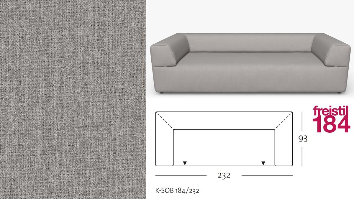 freistil 184 Sofabank im Stoff-Bezug #2064 staubgrau