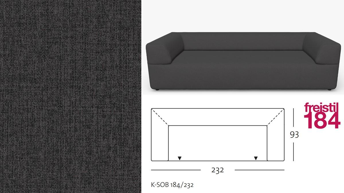 freistil 184 Sofabank im Stoff-Bezug #2065 graphite grey
