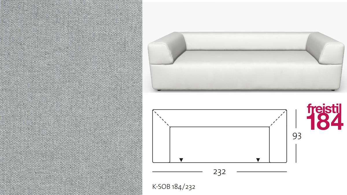 freistil 184 Sofabank im Stoff-Bezug #3007 lichtgrau