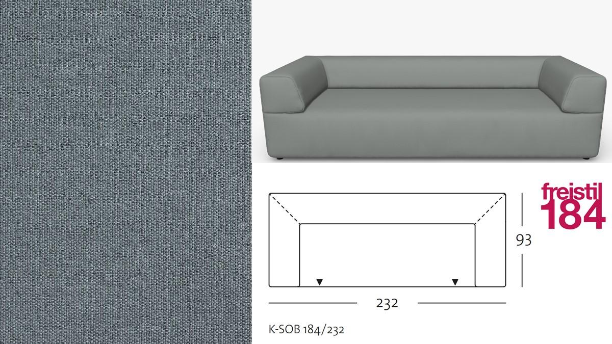 freistil 184 Sofabank im Stoff-Bezug #3008 grau