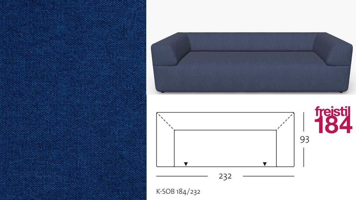 freistil 184 Sofabank im Stoff-Bezug #3013 stahlblau