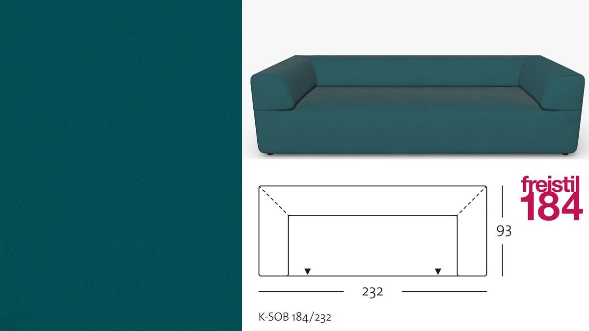 freistil 184 Sofabank im Stoff-Bezug #3103 ozeanblau