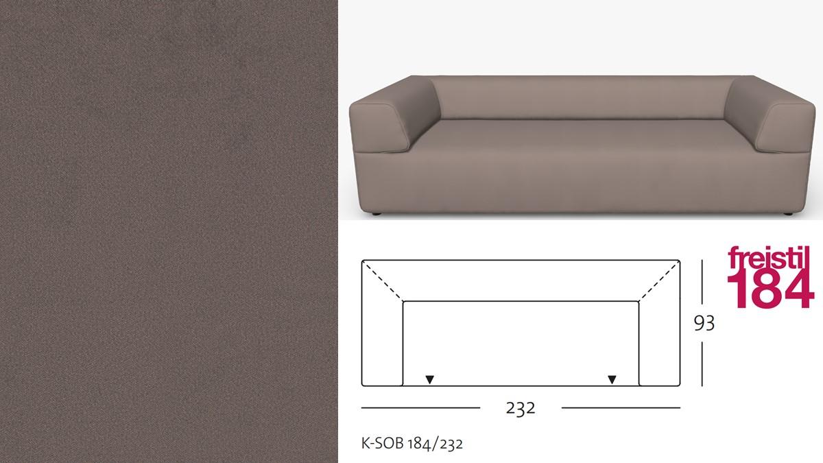 freistil 184 Sofabank im Stoff-Bezug #3106 graubraun