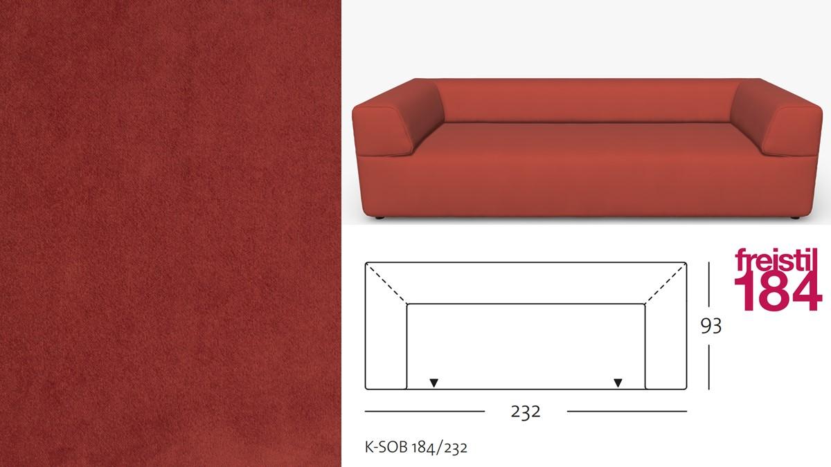 freistil 184 Sofabank im Stoff-Bezug #3111 rotorange