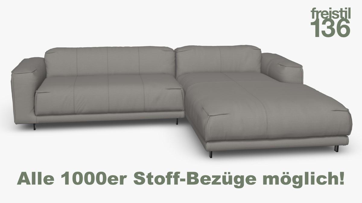 Kompakte freistil 136 Sofa-Kombination mit Longchair rechts Alle 1000er Stoff-Bezüge möglich!