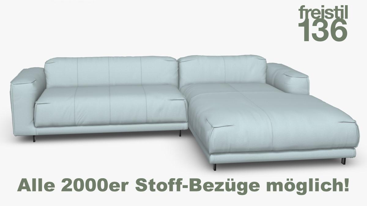 Kompakte freistil 136 Sofa-Kombination mit Longchair rechts Alle 2000er Stoff-Bezüge möglich!