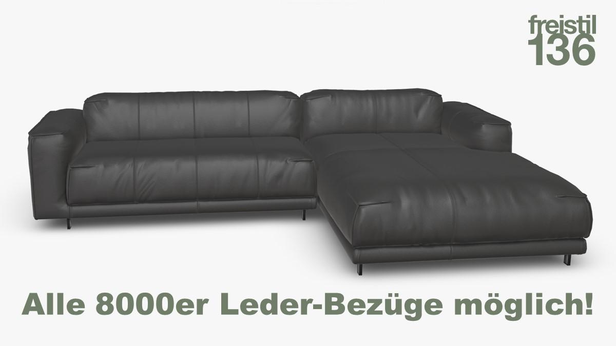 freistil 136 Sofa mit Longchair rechts im Leder-Bezug jetzt in allen 8000er Ledern konfigurierbar!