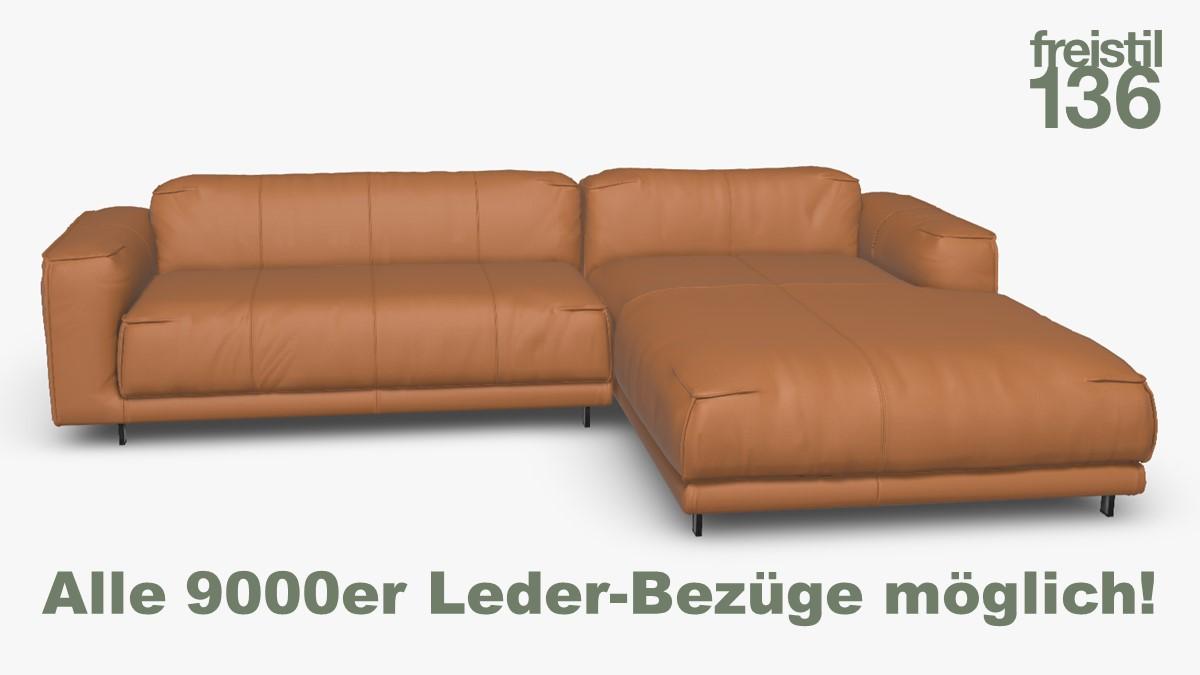Kompakte freistil 136 Sofa-Kombination mit Longchair rechts Alle 9000er Leder-Bezüge möglich!