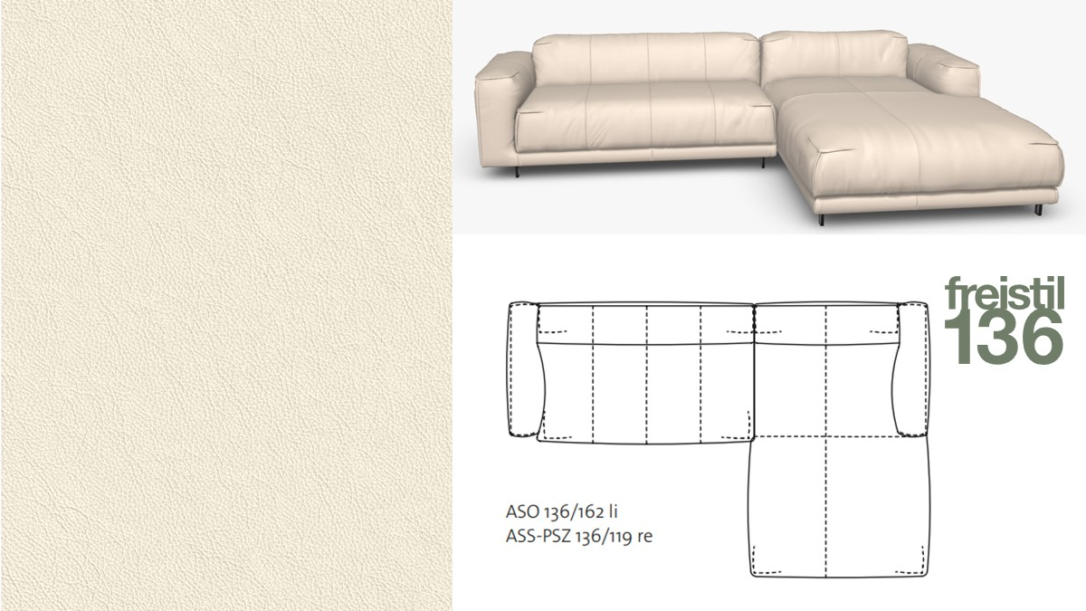 freistil 136 Sofa mit Longchair rechts im Leder-Bezug #8001 weiß