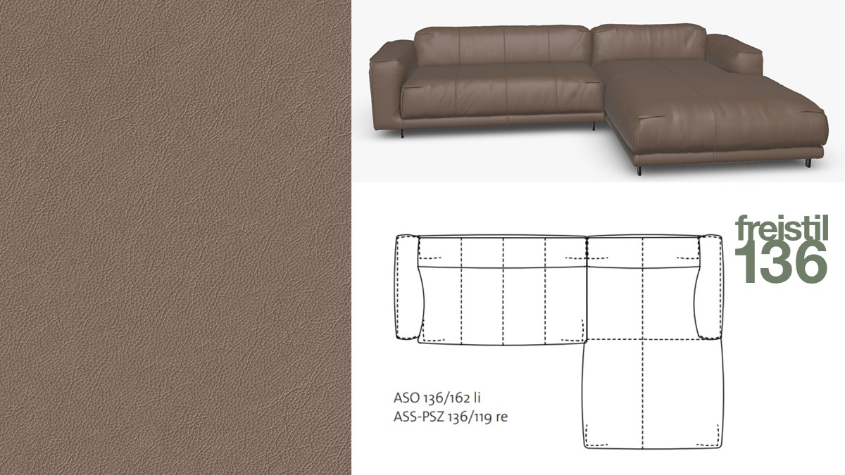 freistil 136 Sofa mit Longchair rechts im Leder-Bezug #8003 beigebraun