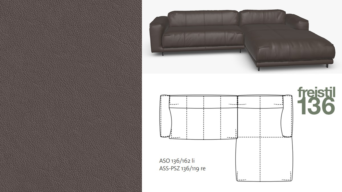 freistil 136 Sofa mit Longchair rechts im Leder-Bezug #8004 graubraun