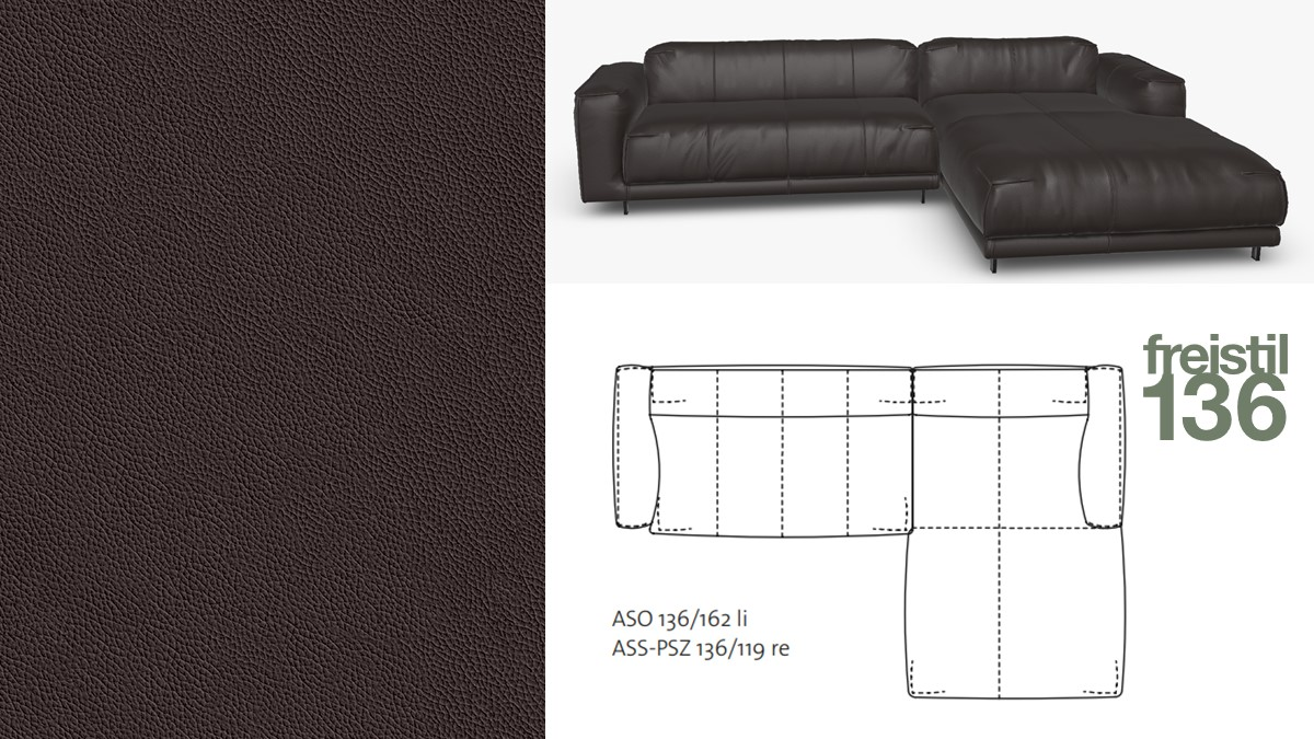 freistil 136 Sofa mit Longchair rechts im Leder-Bezug #8005 dunkelbraun