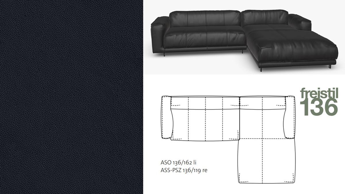 freistil 136 Sofa mit Longchair rechts im Leder-Bezug #8006 schwarz
