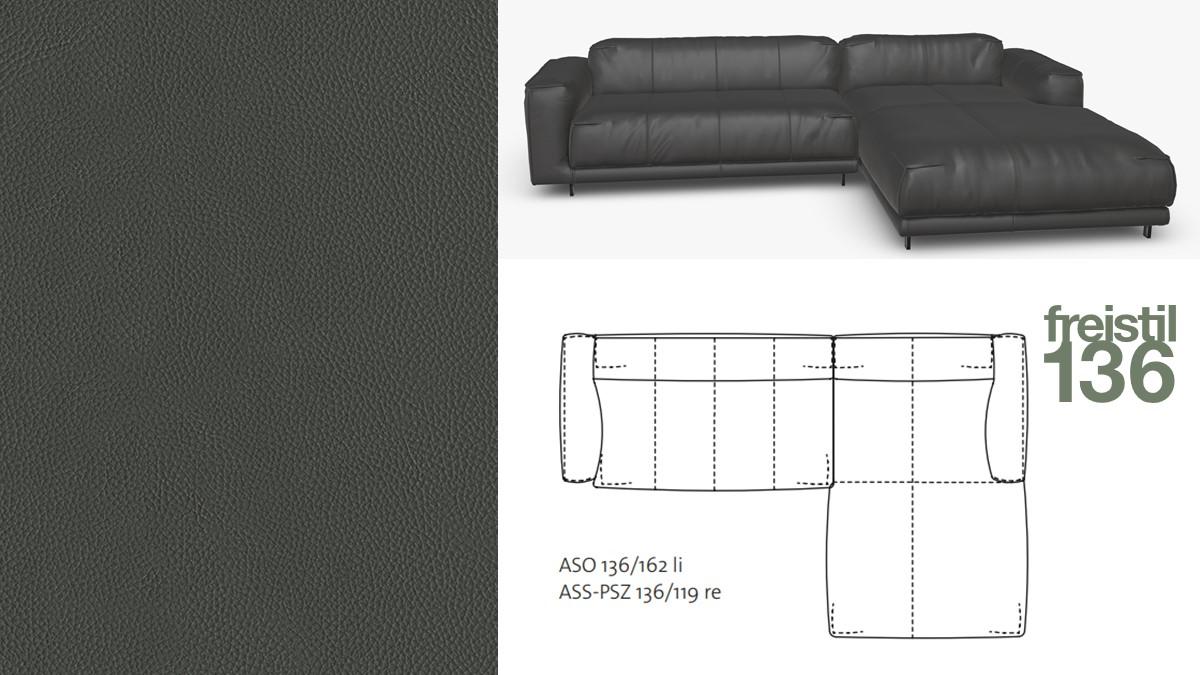 freistil 136 Sofa mit Longchair rechts im Leder-Bezug #8009 graphitgrau