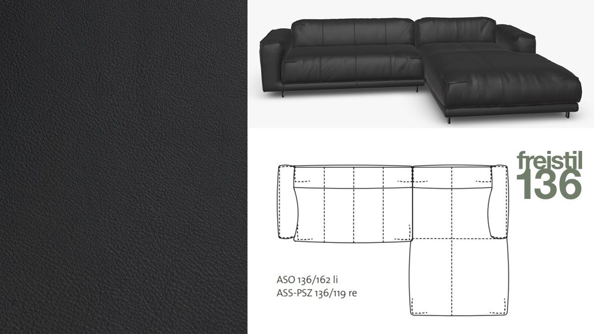 freistil 136 Sofa mit Longchair rechts #9001 schwarz