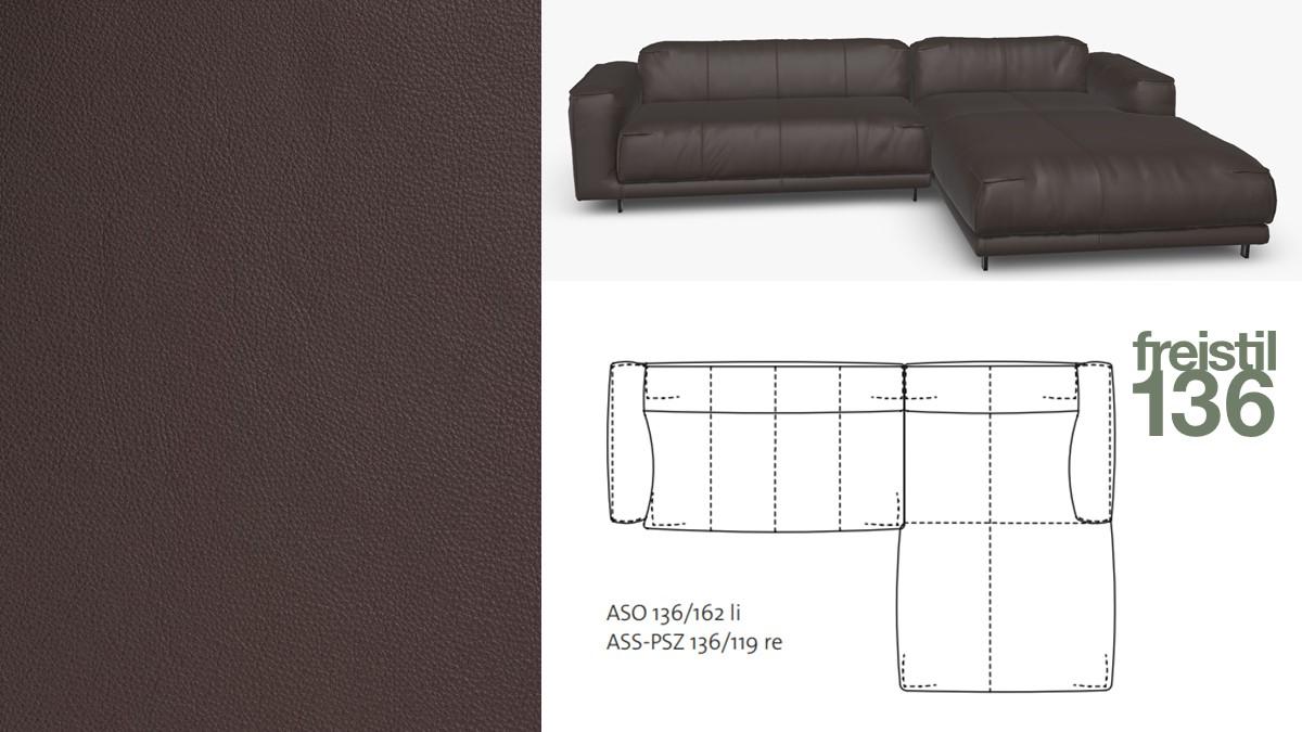 freistil 136 Sofa mit Longchair rechts #9003 dunkelbraun