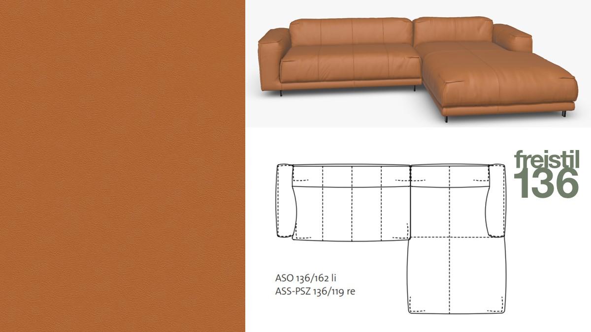 freistil 136 Sofa mit Longchair rechts #9009 ockerbraun