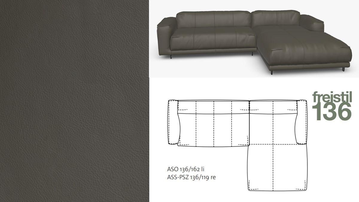 freistil 136 Sofa mit Longchair rechts #9012 umbragrau