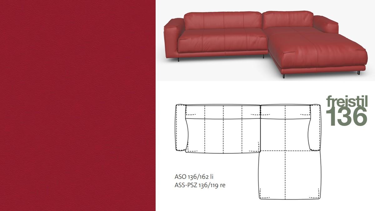 freistil 136 Sofa mit Longchair rechts #9013 rubinrot