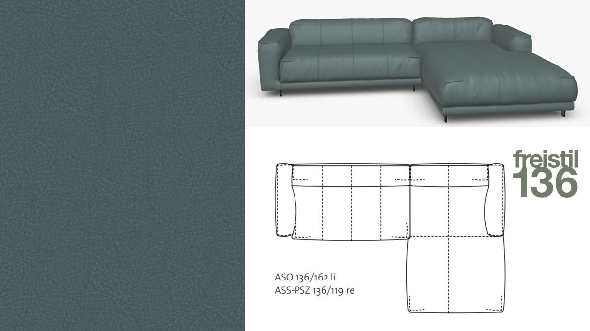 freistil 136 Sofa mit Longchair rechts #9014 blaugrau