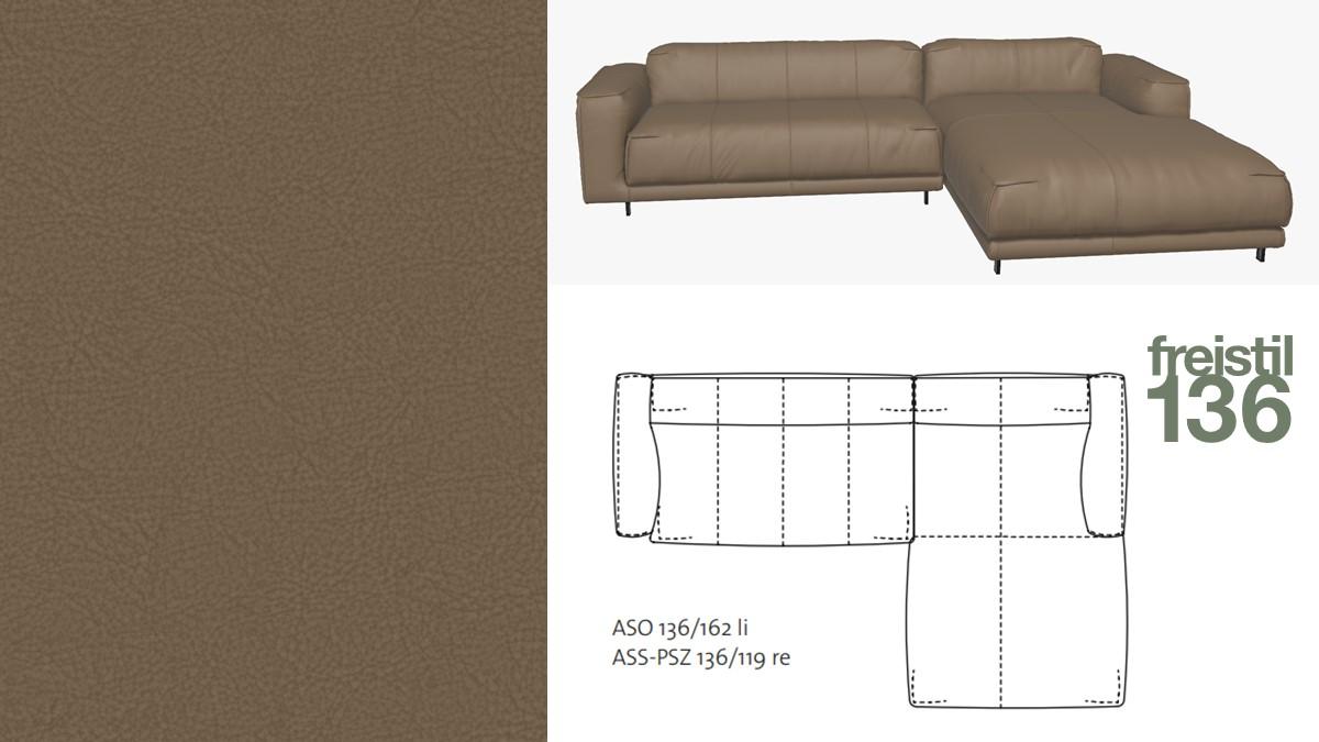 freistil 136 Sofa mit Longchair rechts #9015 beigegrau