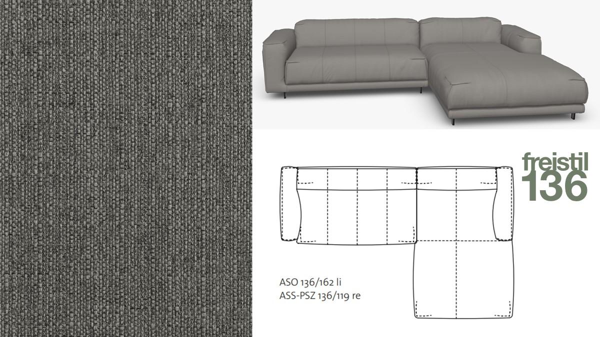 Kompakte freistil 136 Sofa-Kombination mit Longchair rechts im Stoff-Bezug #1026 grau