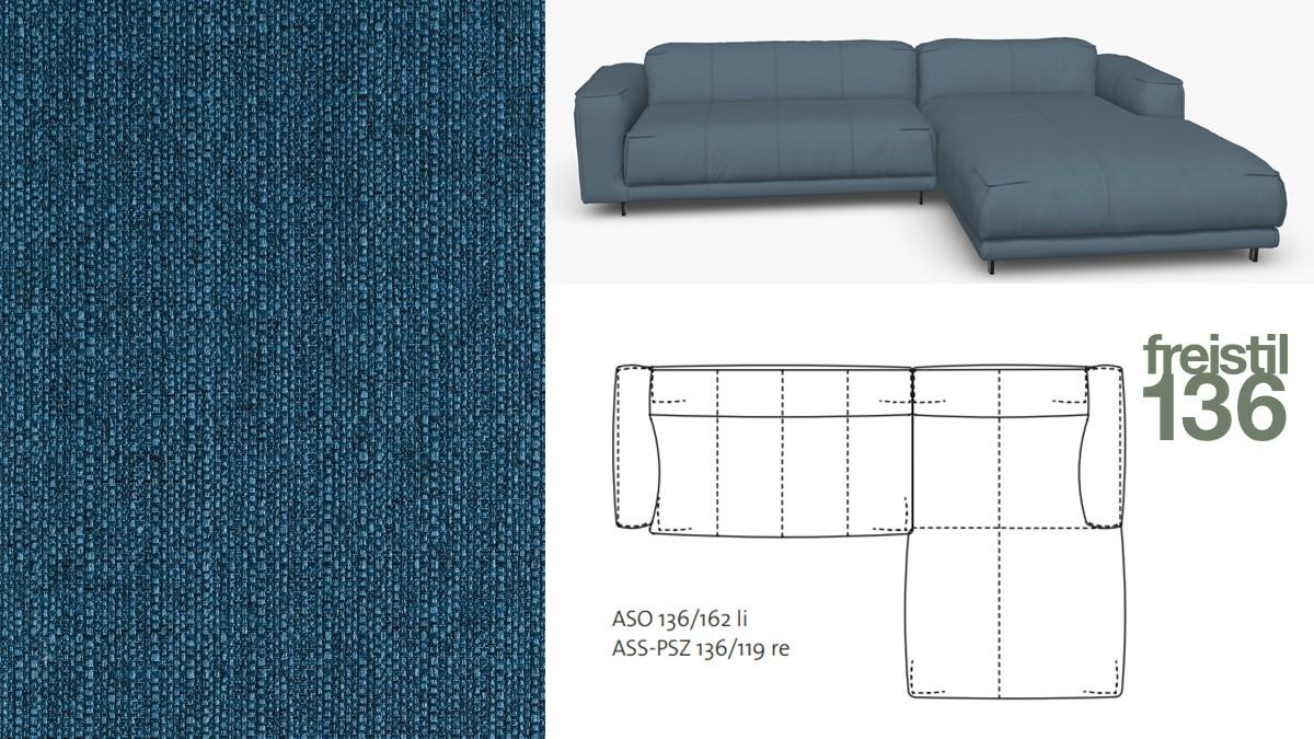 Kompakte freistil 136 Sofa-Kombination mit Longchair rechts im Stoff-Bezug #1030 blau
