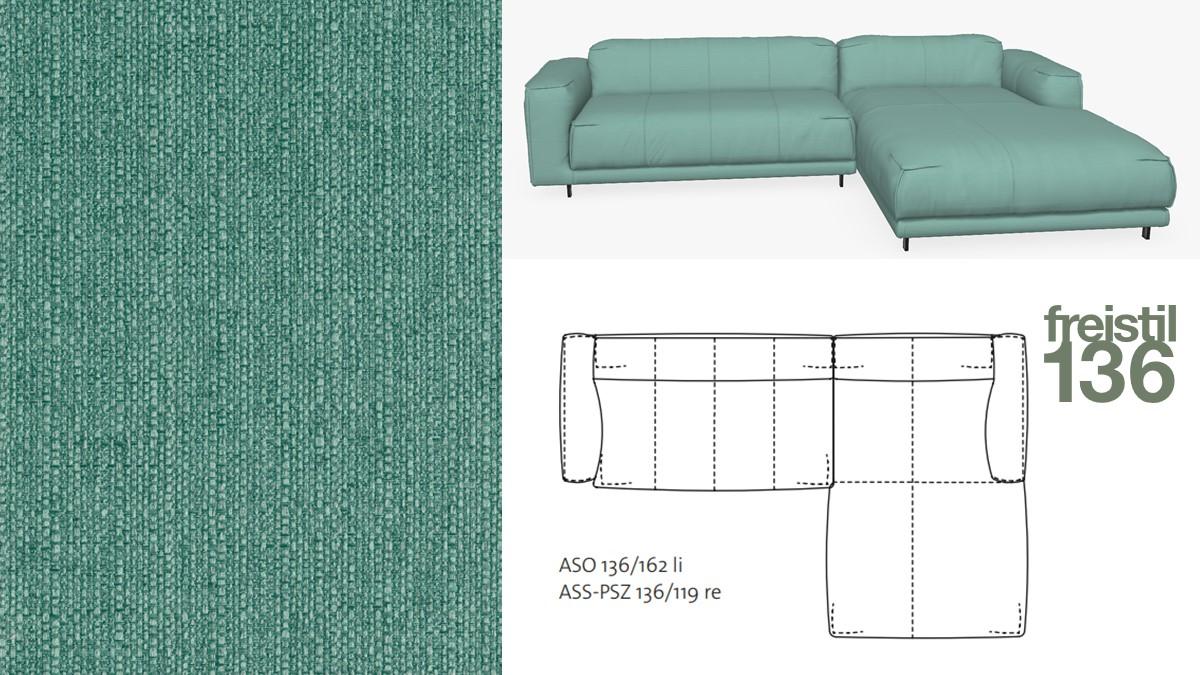 freistil 136 Sofa mit Longchair rechts im Stoff-Bezug #1031