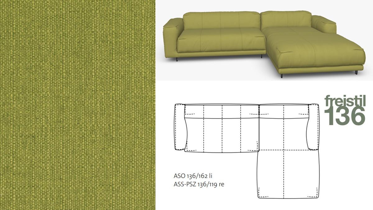 freistil 136 Sofa mit Longchair rechts im Stoff-Bezug #1032