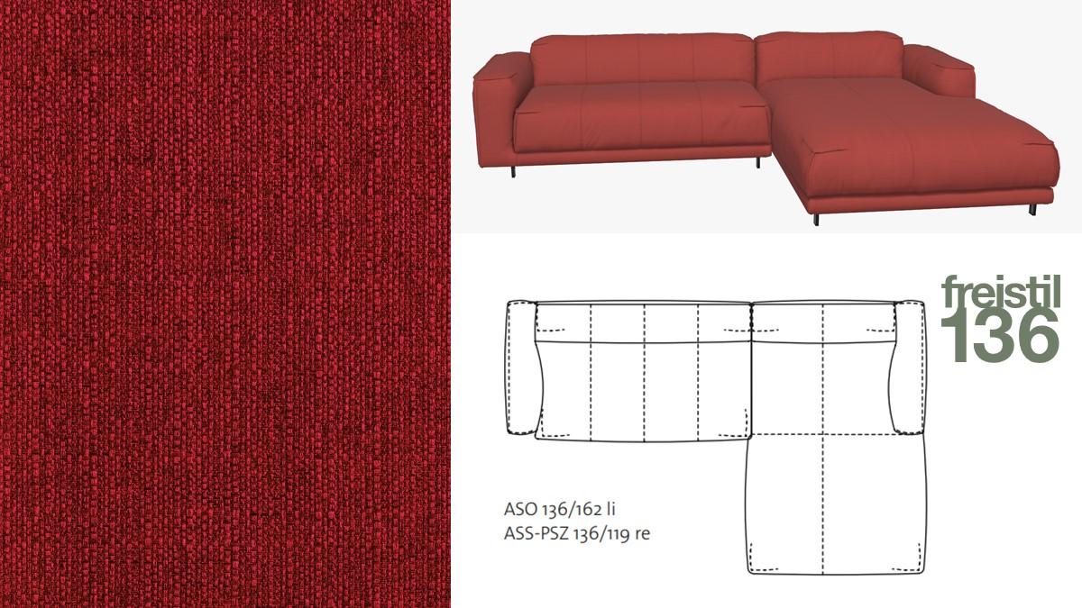 freistil 136 Sofa mit Longchair rechts im Stoff-Bezug #1033 rubinrot