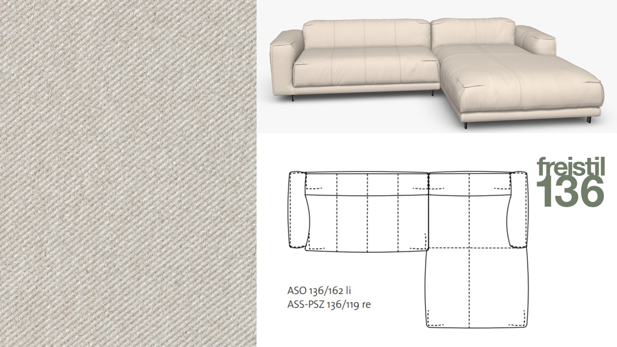 freistil 136 Sofa mit Longchair rechts im Stoff-Bezug #1070 kieselgrau