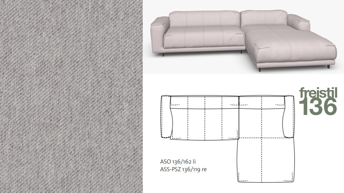 freistil 136 Sofa mit Longchair rechts im Stoff-Bezug #1071 signalgrau
