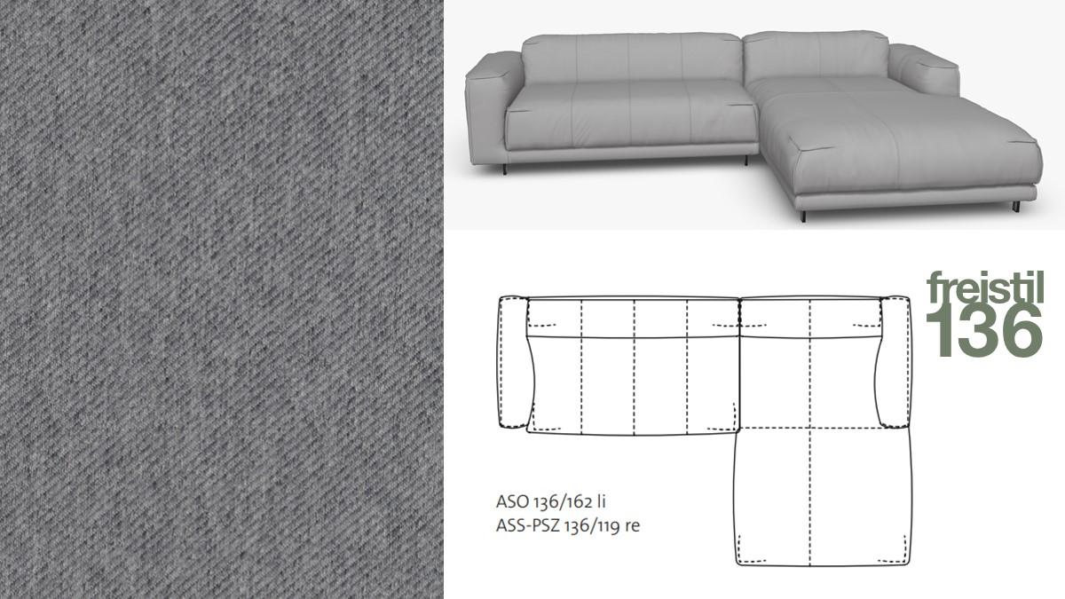 freistil 136 Sofa mit Longchair rechts im Stoff-Bezug #1073 blaugrau