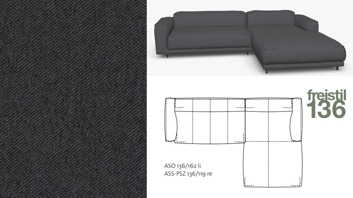 freistil 136 Sofa mit Longchair rechts im Stoff-Bezug #1074 schwarzgrau