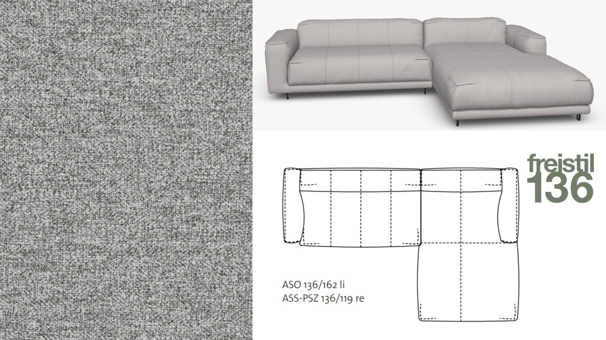 Kompakte freistil 136 Sofa-Kombination mit Longchair rechts im Stoff-Bezug #2040 signalgrau