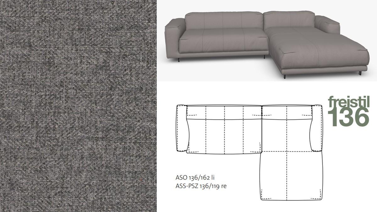 Kompakte freistil 136 Sofa-Kombination mit Longchair rechts im Stoff-Bezug #2041 eisengrau