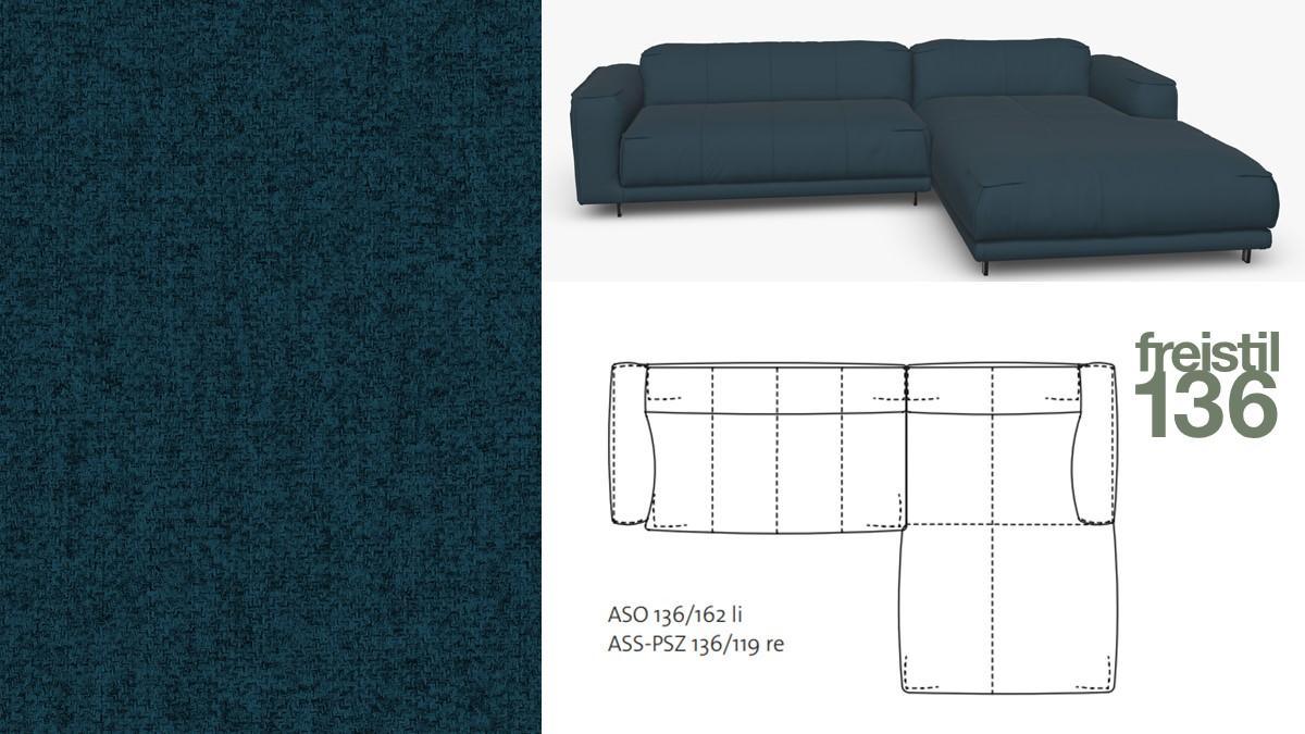 Kompakte freistil 136 Sofa-Kombination mit Longchair rechts im Stoff-Bezug #2045 grünblau