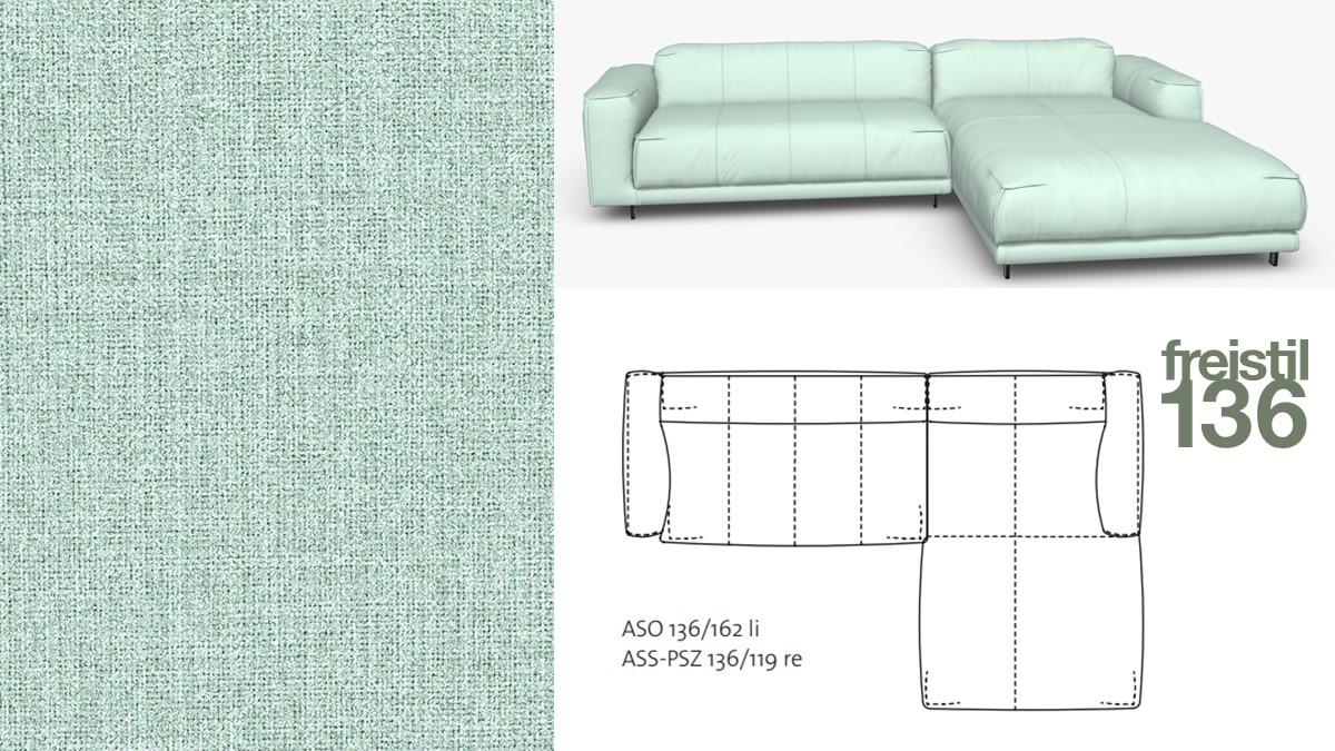 Kompakte freistil 136 Sofa-Kombination mit Longchair rechts im Stoff-Bezug #2060 pastelltürkis