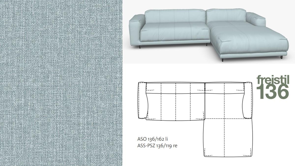 Kompakte freistil 136 Sofa-Kombination mit Longchair rechts im Stoff-Bezug #2062 silbergrau