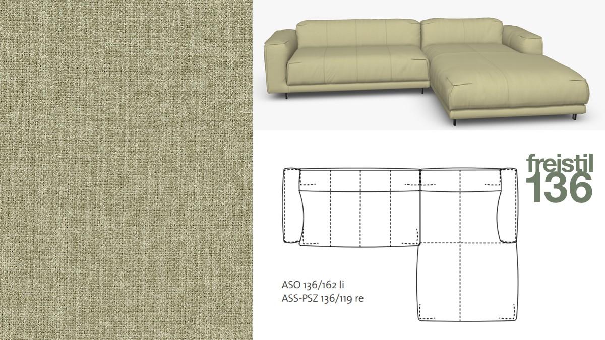 Kompakte freistil 136 Sofa-Kombination mit Longchair rechts im Stoff-Bezug #2063 schilfgrün