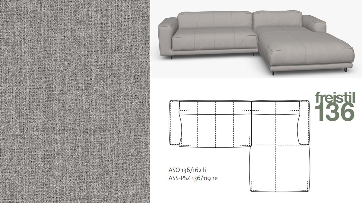 freistil 136 Sofa mit Longchair rechts im Stoff-Bezug #2064 staubgrau