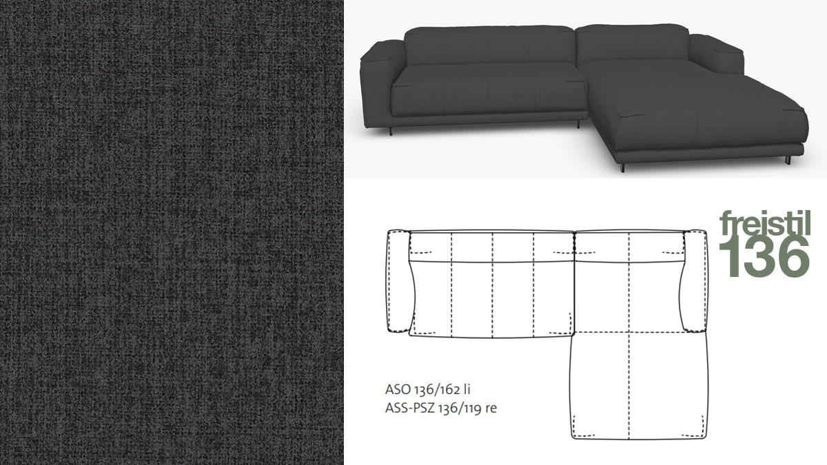 freistil 136 Sofa mit Longchair rechts im Stoff-Bezug #2065 graphitegrey