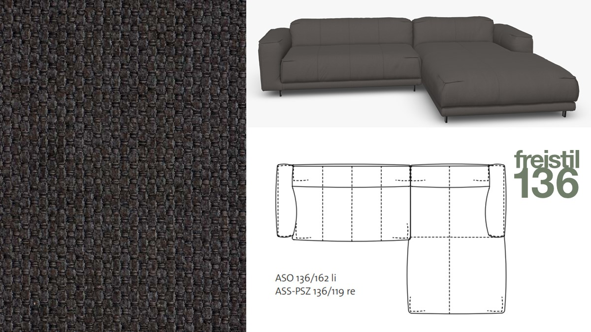 freistil 136 Sofa mit Longchair rechts im Stoff-Bezug #4016 schwarzgrau