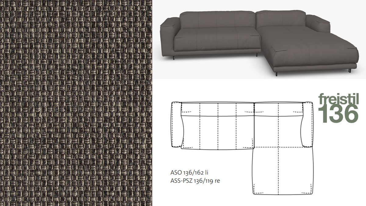 freistil 136 Sofa mit Longchair rechts im Stoff-Bezug #4019 braungrau