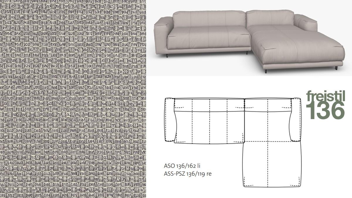 freistil 136 Sofa mit Longchair rechts im Stoff-Bezug #4020 silbergrau