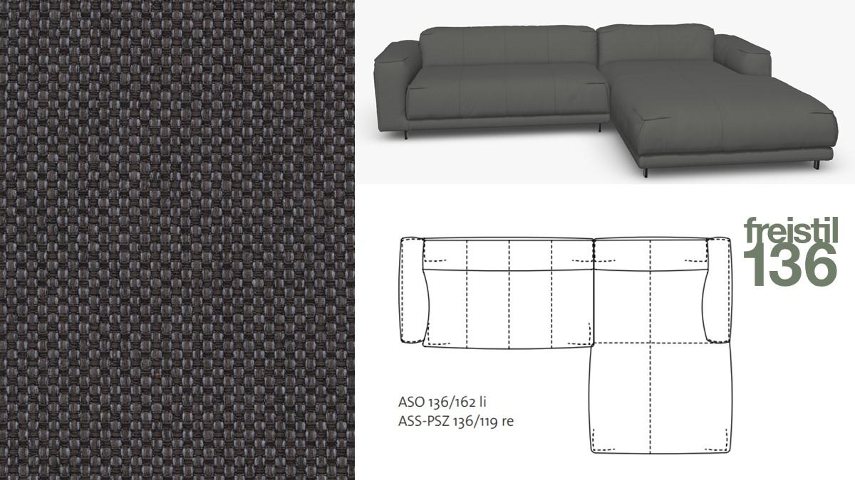 Kompakte freistil 136 Sofa-Kombination mit Longchair rechts im Stoff-Bezug #4021 schiefergrau