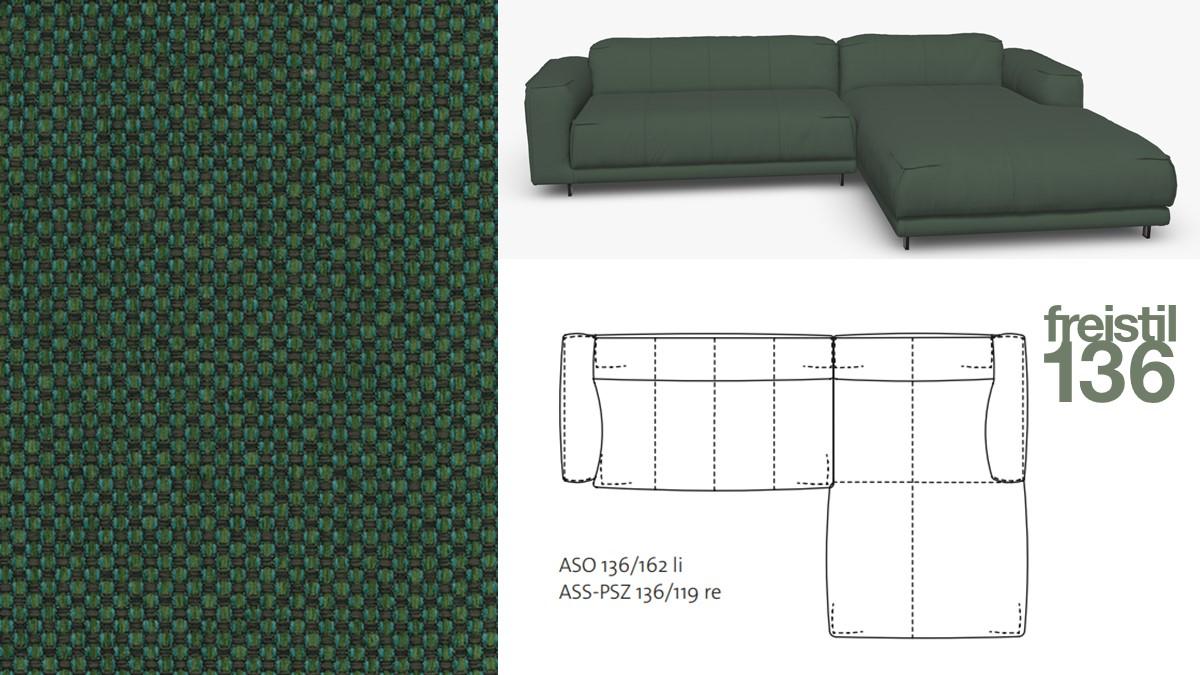 Kompakte freistil 136 Sofa-Kombination mit Longchair rechts im Stoff-Bezug #4024 laubgrün